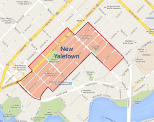 Map showing New Yaletown's location