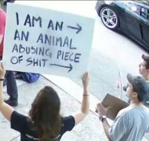Protest sign with offensive language